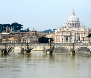 Our view of the Vatican City as we crossed the river from Rome