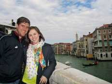 Standing on the Rialto Bridge overlooking the Grand Canal